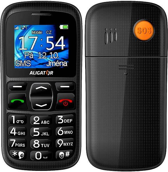 Mobilní telefon Aligator A420 Senior Black + Stolní nabíječka