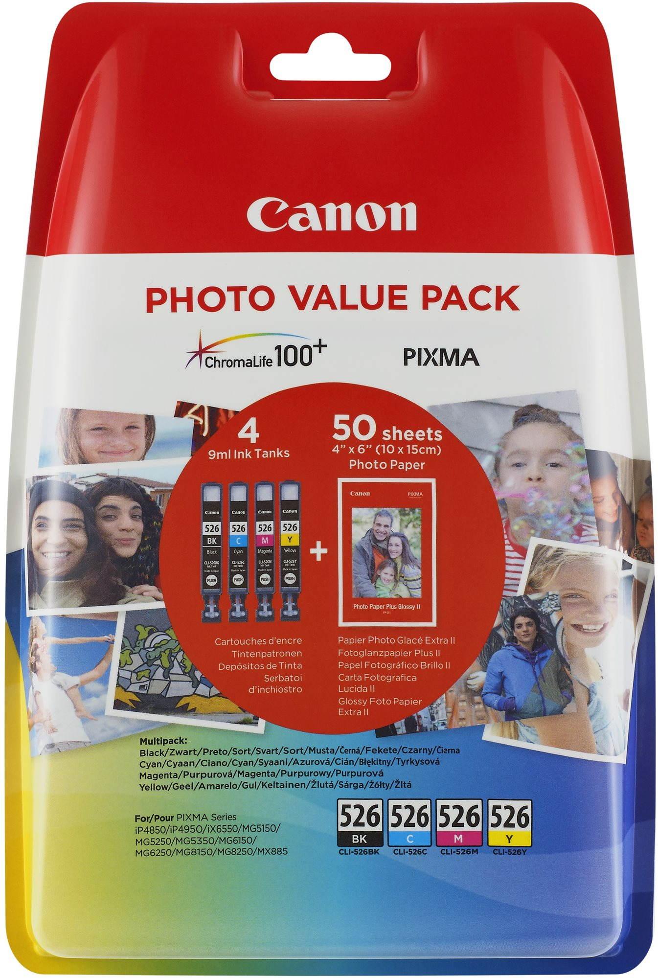 Cartridge Canon CLI-526 multipack + fotopapír PP-201