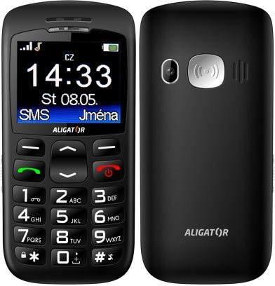 Mobilní telefon Aligator A670 Senior Black + Stolní nabíječka