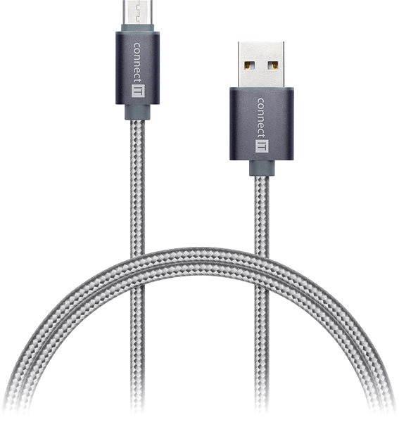 Datový kabel CONNECT IT Wirez Premium Metallic USB-C 1m silver grey