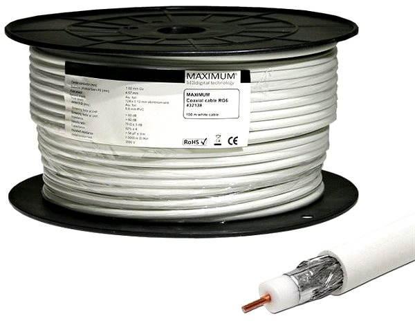Anténní kabel Maximum koaxiální kabel RG6-100, 100m