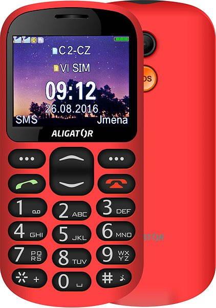 Mobilní telefon Aligator A880 GPS Senior červený + stolní nabíječka