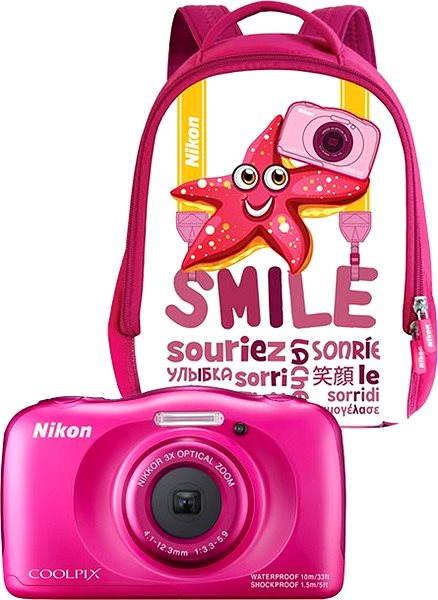 Digitální fotoaparát Nikon COOLPIX W100 růžový backpack kit