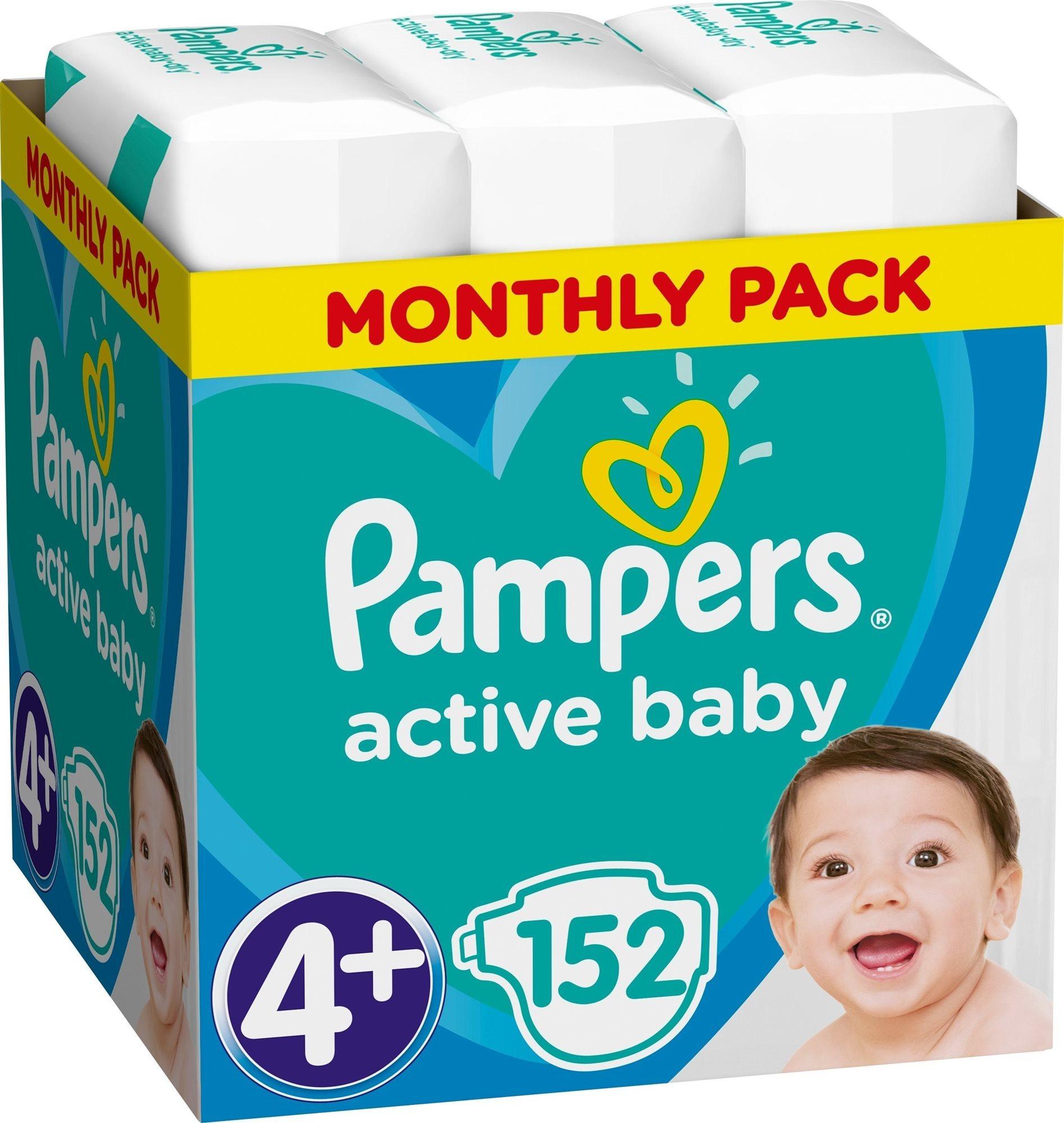 Dětské pleny PAMPERS Active Baby-Dry vel. 4+ Maxi (152 ks) - měsíční balení