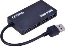 USB HUB Crono 4 porty, USB 3.0, černý