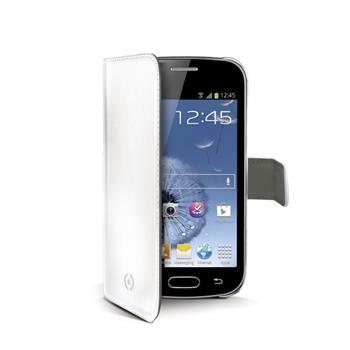Pouzdro typu kniha CELLY Wally pro Samsung Galaxy Trend / Trend Plus, PU kůže, bílé