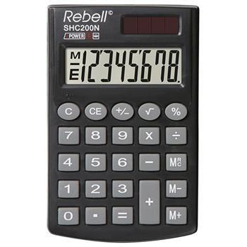 Jednoduchý kapesní kalkulátor REBELL s 8místným LCD displejem, 3 paměťovými klávesami a ochranným pouzdrem