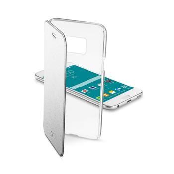 Průhledné pouzdro typu kniha CellularLine Clear Book pro Samsung Galaxy S6, stříbrné