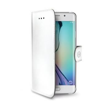 Pouzdro typu kniha CELLY Wally pro Samsung Galaxy S6 Edge, PU kůže, bílé