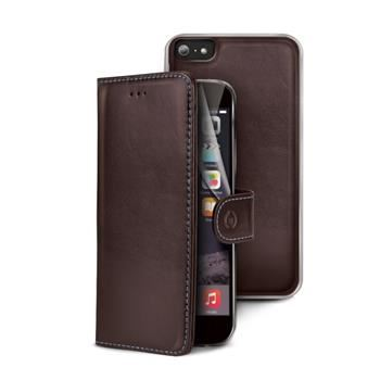 Pouzdro typu kniha CELLY Ambo Pelle pro Apple iPhone 6 Plus / 6S Plus, pravá kůže, hnědé