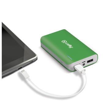 Powerbanka CELLY s 2x USB výstupem, microUSB kabelem a LED svítilnou, 6000 mAh, 2.1A, zelená