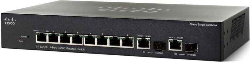 Cisco SF302-08, 8x10/100 + 2xSFP Manag. Switch