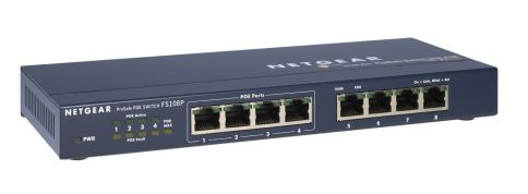NETGEAR 8 PORT 10/100 SWITCH WITH 4x POE, FS108PEU