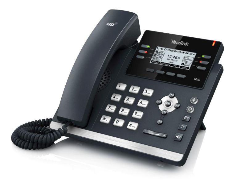 """Yealink SIP-T42G IP tel., PoE, 2,7"""" 192x64 LCD, 6 prog.tl., GigE"""