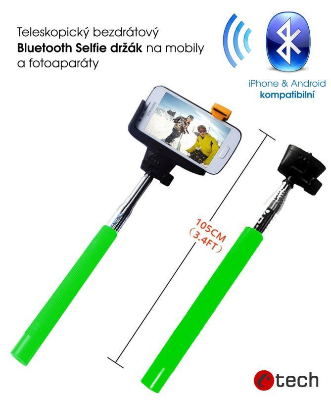 C-TECH Teleskopický selfie držák BT spoušť, zelená