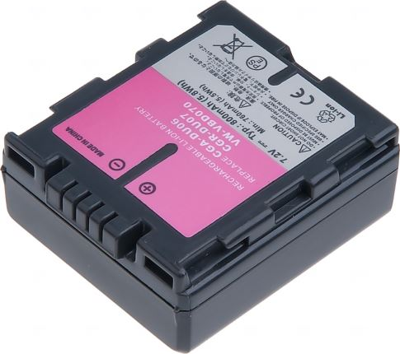 Baterie T6 power Panasonic VW-VBD070, CGA-DU07, CGR-DU07, Hitachi DZ-BP07S, 800mAh, šedá