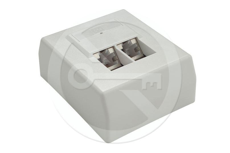 Zásuvka OEM CAT5E UTP 2 x RJ45 na omítku bílá