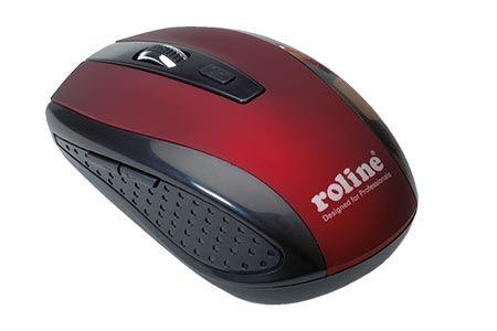 Myš scroll, optická, USB, bezdrátová, červená