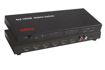 Maticový HDMI přepínač, 4 vstupy -> 2 výstupy