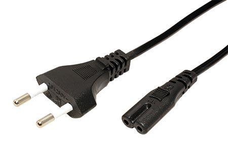 Kabel síťový 2pinový, CEE 7/17(M) - IEC320 C7, černý, 1,8m