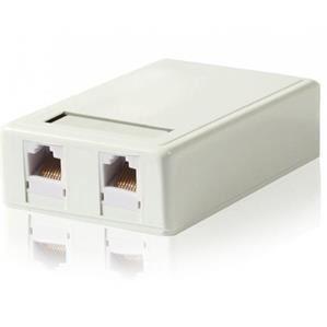 Gembird UTP zásuvka na omítku, 2x RJ45, bílá, Cat.5e svorkovnice