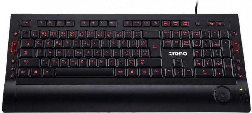 Crono CK2112 - multimediální klávesnice, CZ / SK, USB, černá, 3 barevné odstíny podsvícení