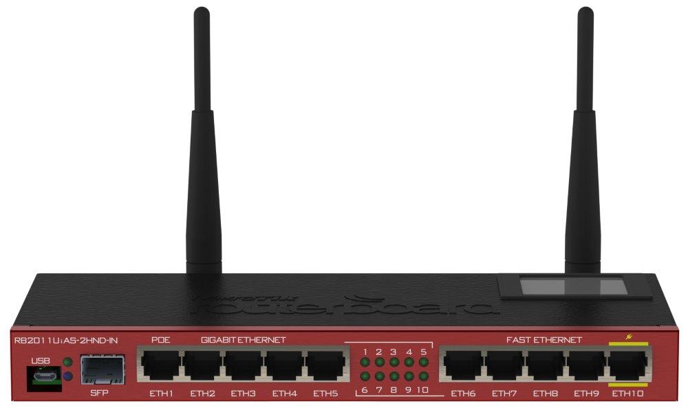 Mikrotik RouterBOARD RB2011UiAS-2HnD-IN/desktop/ 600 MHz/128 M RAM/802.11b/b/g/n/5x GLAN/ 5x LAN/OS L5 / POE / LCD panel
