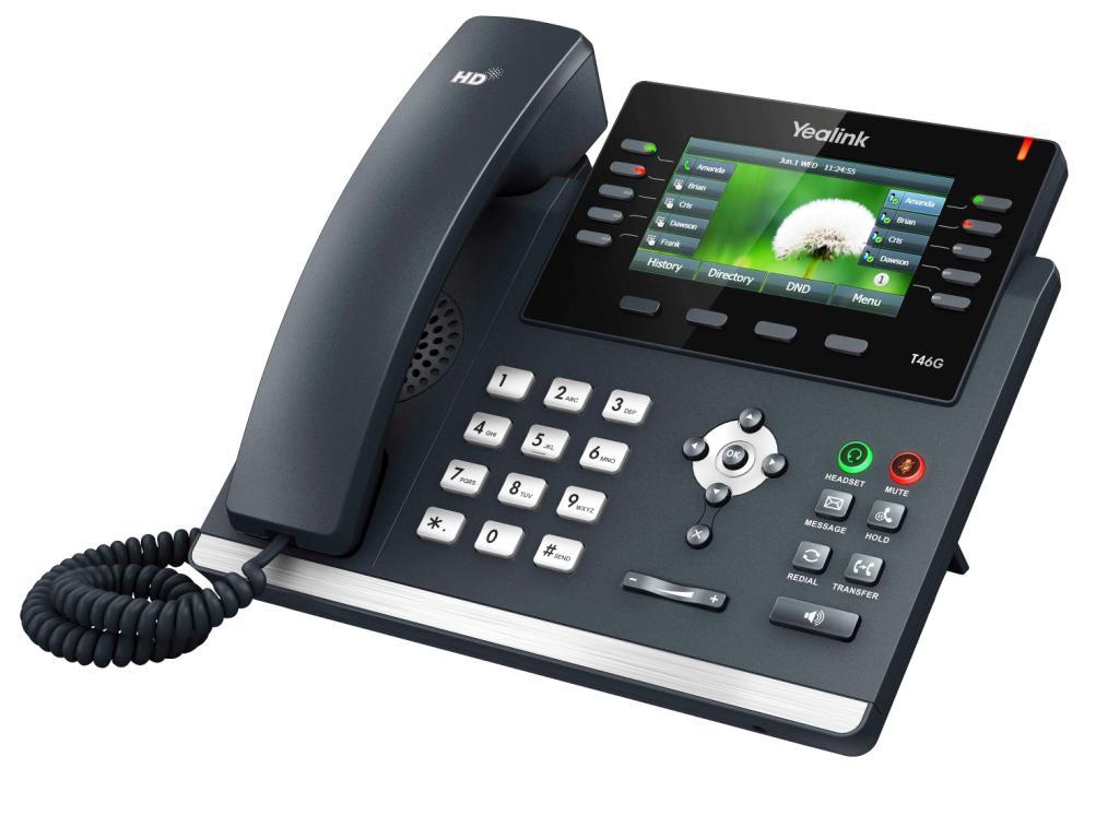 """Yealink SIP-T46G IP tel., PoE, 4,3"""" bar. LCD, 27 prog.tl., GigE (IP telefonie / VOIP produkty)"""
