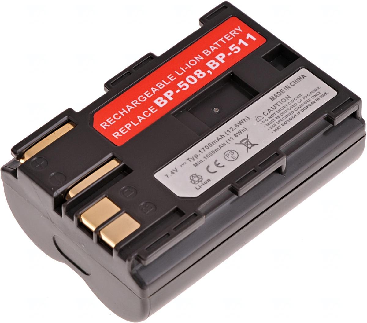 Baterie T6 power Canon BP-508, BP-511, BP-511A, BP-512, BP-514, 1700mAh, hnědá (Baterie a gripy)