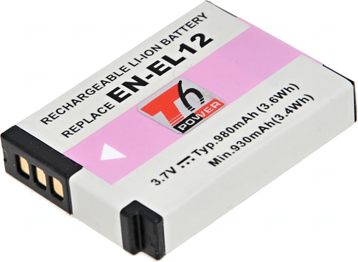 Baterie T6 power Nikon EN-EL12, 980mAh, černá (Baterie a gripy)