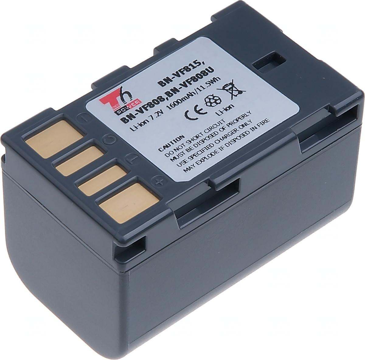 Baterie T6 power JVC BN-VF808, VF815, 1600mAh, šedá (Baterie a gripy)