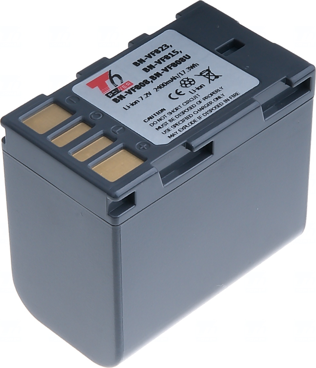 Baterie T6 power JVC BN-VF808, VF815, VF823, 2400mAh, šedá (Baterie a gripy)