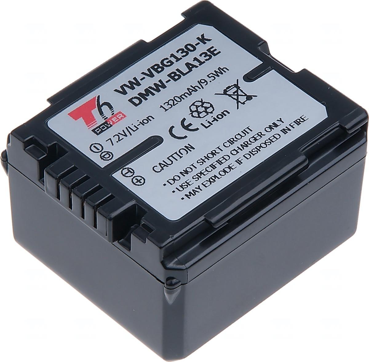 Baterie T6 power Panasonic VW-VBG130, 1320mAh, černá (Baterie a gripy)