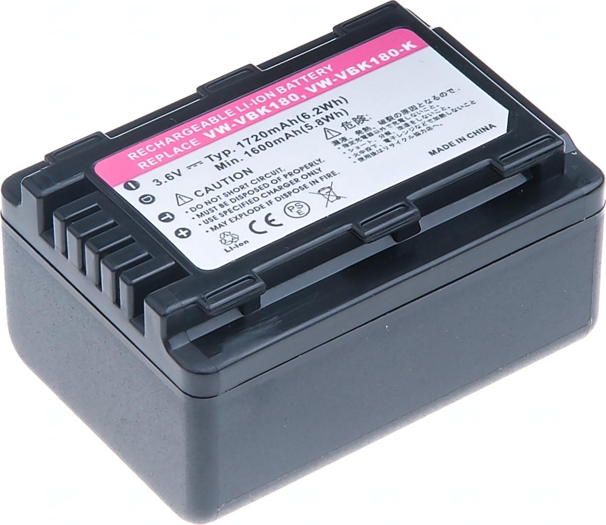 Baterie T6 power Panasonic VW-VBK180, 1720mAh, černá (Baterie a gripy)
