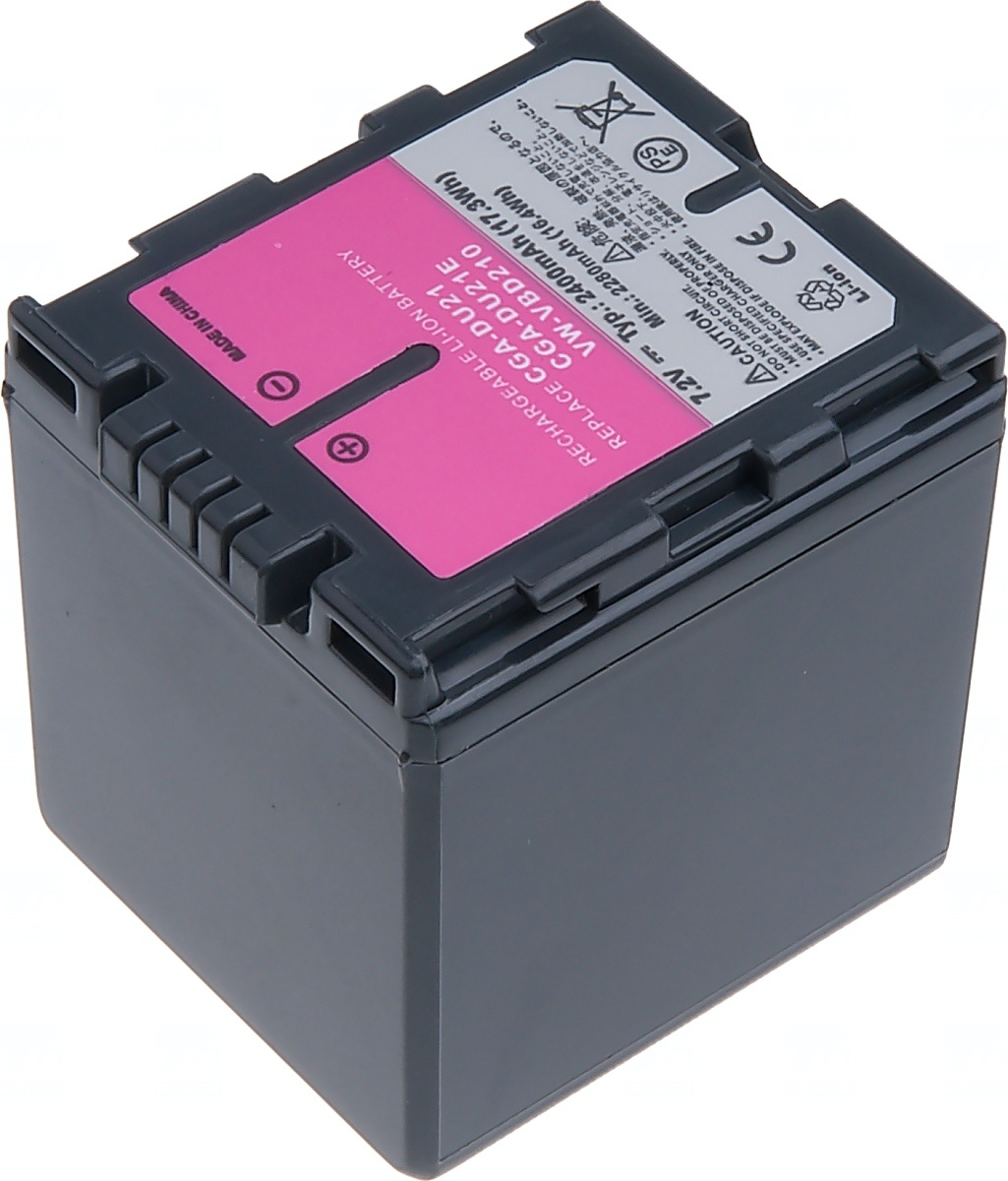 Baterie T6 power Panasonic VW-VBD210, CGA-DU21, Hitachi DZ-BP14SW, 2400mAh, šedá (Baterie a gripy)