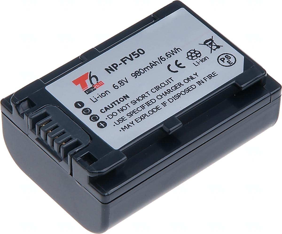 Baterie T6 power Sony NP-FV50, 980mAh, šedá (Baterie a gripy)