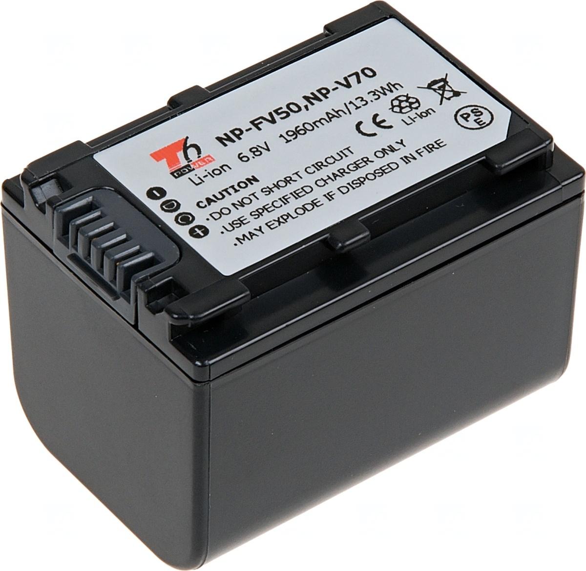 Baterie T6 power Sony NP-FV70, 1960mAh, šedá (Baterie a gripy)