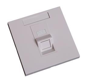 EuroLan modulární UTP zásuvka pod omítku, pro 1x keystone, 45°, bílá, bez keystonu