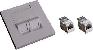 EuroLan UTP zásuvka pod omítku, 2x RJ45, 45°, bílá, Cat.6 keystony