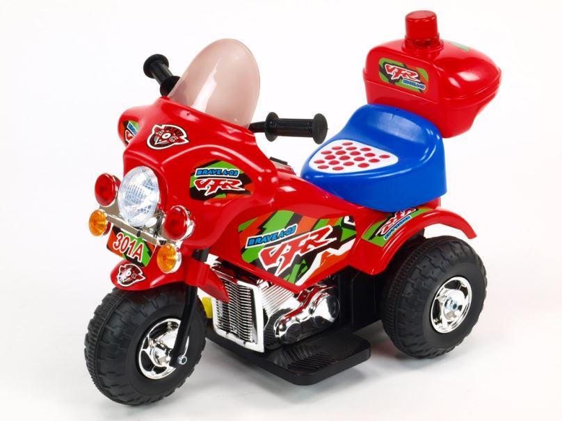Elektrická motorka pro děti Bravea02 policie, červená