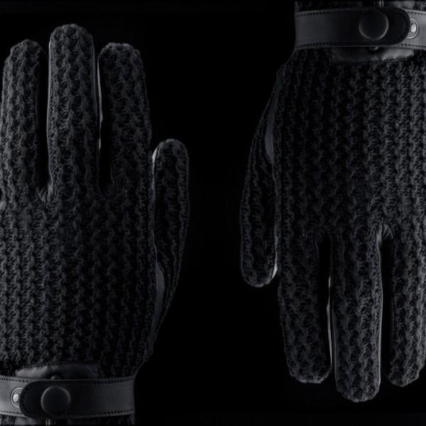 MUJJO Kožené háčkované dotykové rukavice - velikost 8 24e031a686