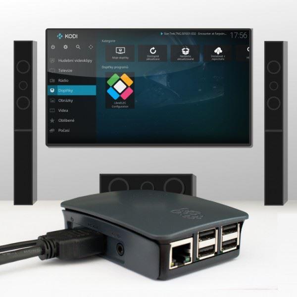 Sada Raspberry Pi 3 Model B+ se systémem LibreELEC (KODI) HDMI, černá