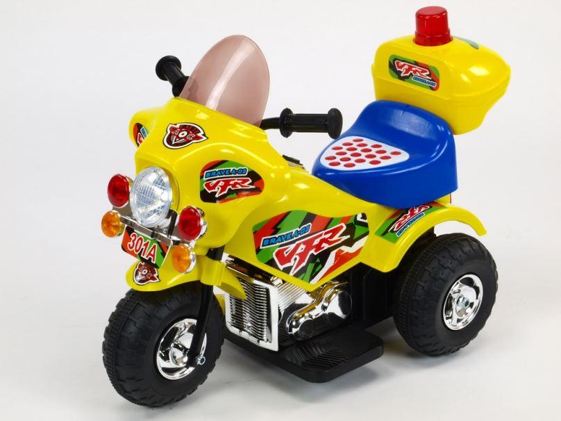 Elektrická motorka pro děti Bravea02 policie, žlutá