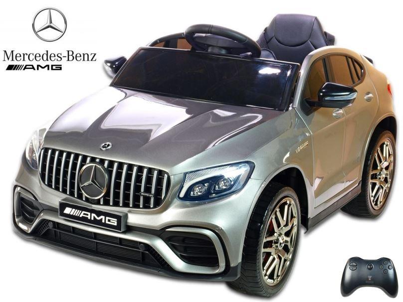 Elektrické auto pro děti Mercedes GLC 63S AMG, lakovaná stříbrná metalíza