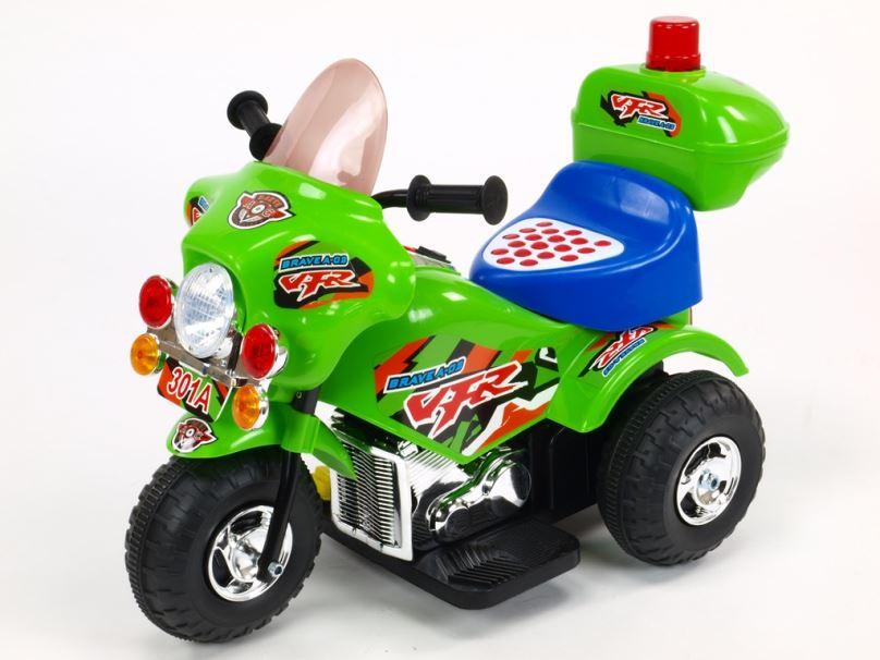 Elektrická motorka pro děti Bravea02 policie, zelená