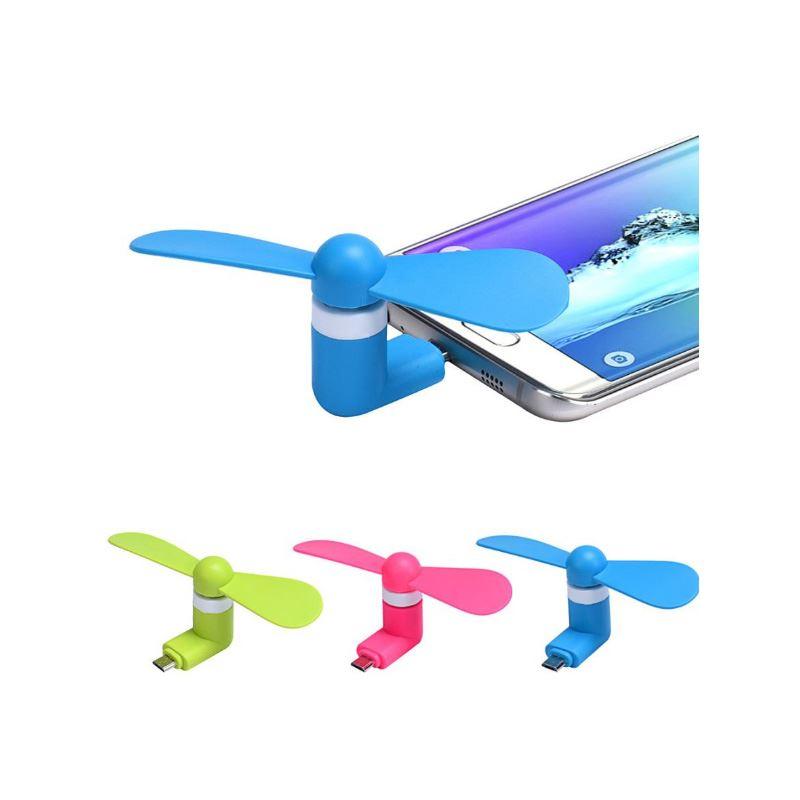 Micro USB ventilátor kompatibilní s Apple Lightning, oranžový