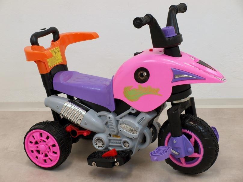 Elektrická motorka pro děti 3V1, růžová