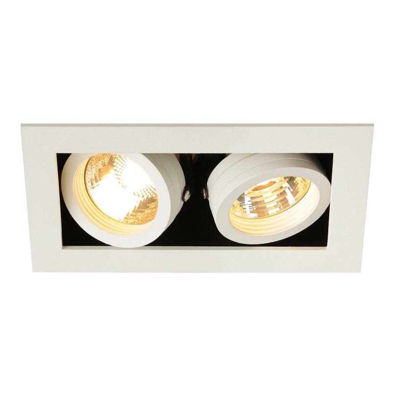 Stropní vestavné bodové svítidlo SCHRACK KADUX 2 GU10 Downlight, čtvercový, matná bílá, max. 2x50W