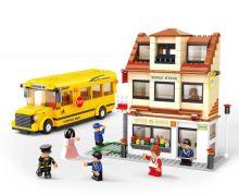 SLUBAN stavebnice Školní Autobus se Školou, 487 dílků (kompatibilní s LEGO)