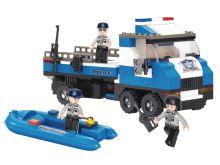 SLUBAN stavebnice Policejní Náklaďák se Člunem, 202 dílků (kompatibilní s LEGO)